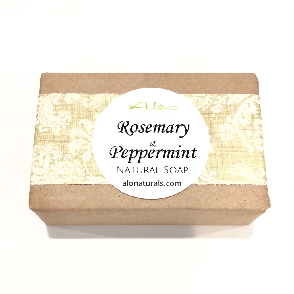 Plant based, hand made, natural soap bar.  Rosemary and peppermint aid in hydrating the skin which helps to control oil production and keep acne at bay.  Helps sooth irritated and itchy skin.  Aromatherapy benefits include, improving mental function and reducing stress.