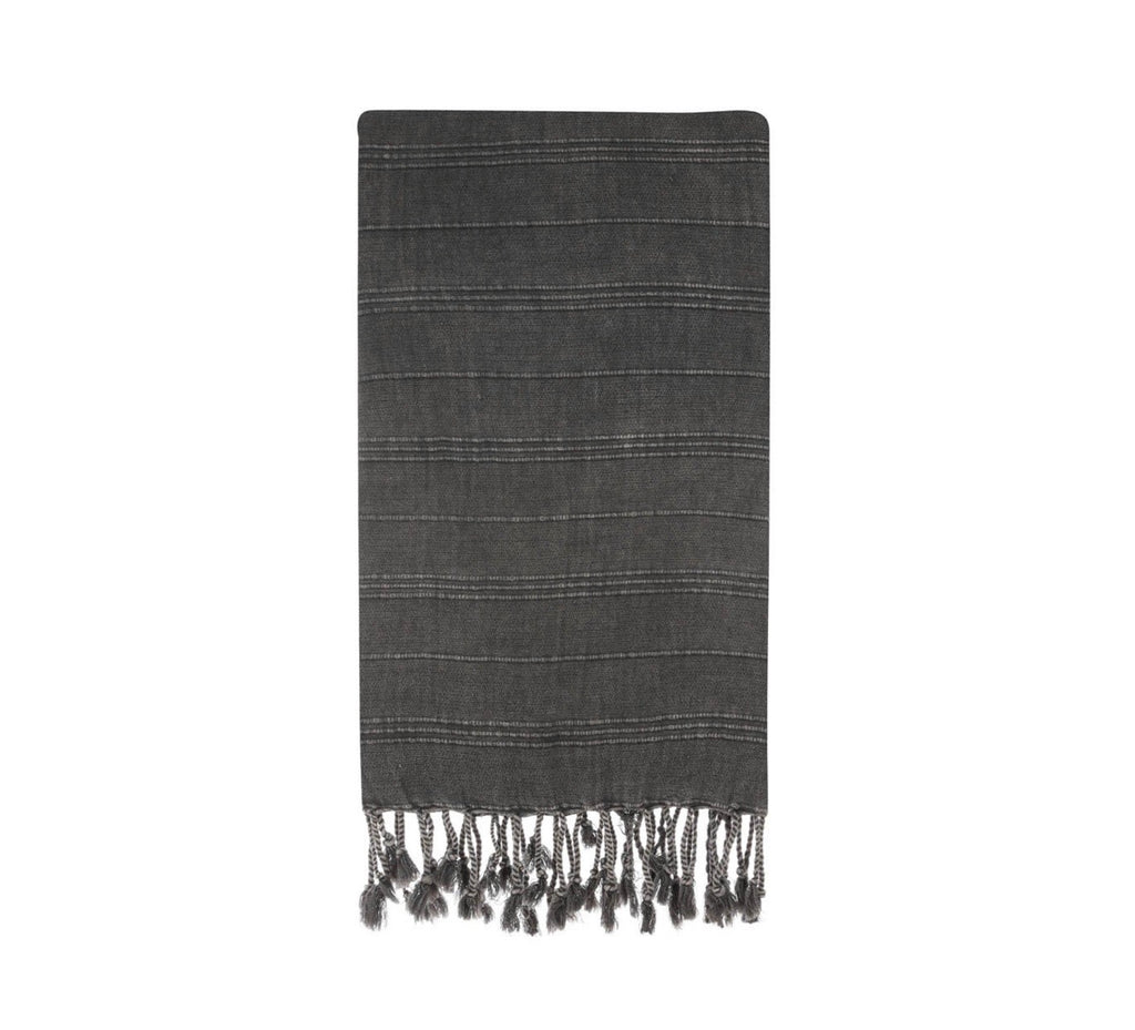 Super soft Turkish Cotton towel.  For beach or bath in dark gray.