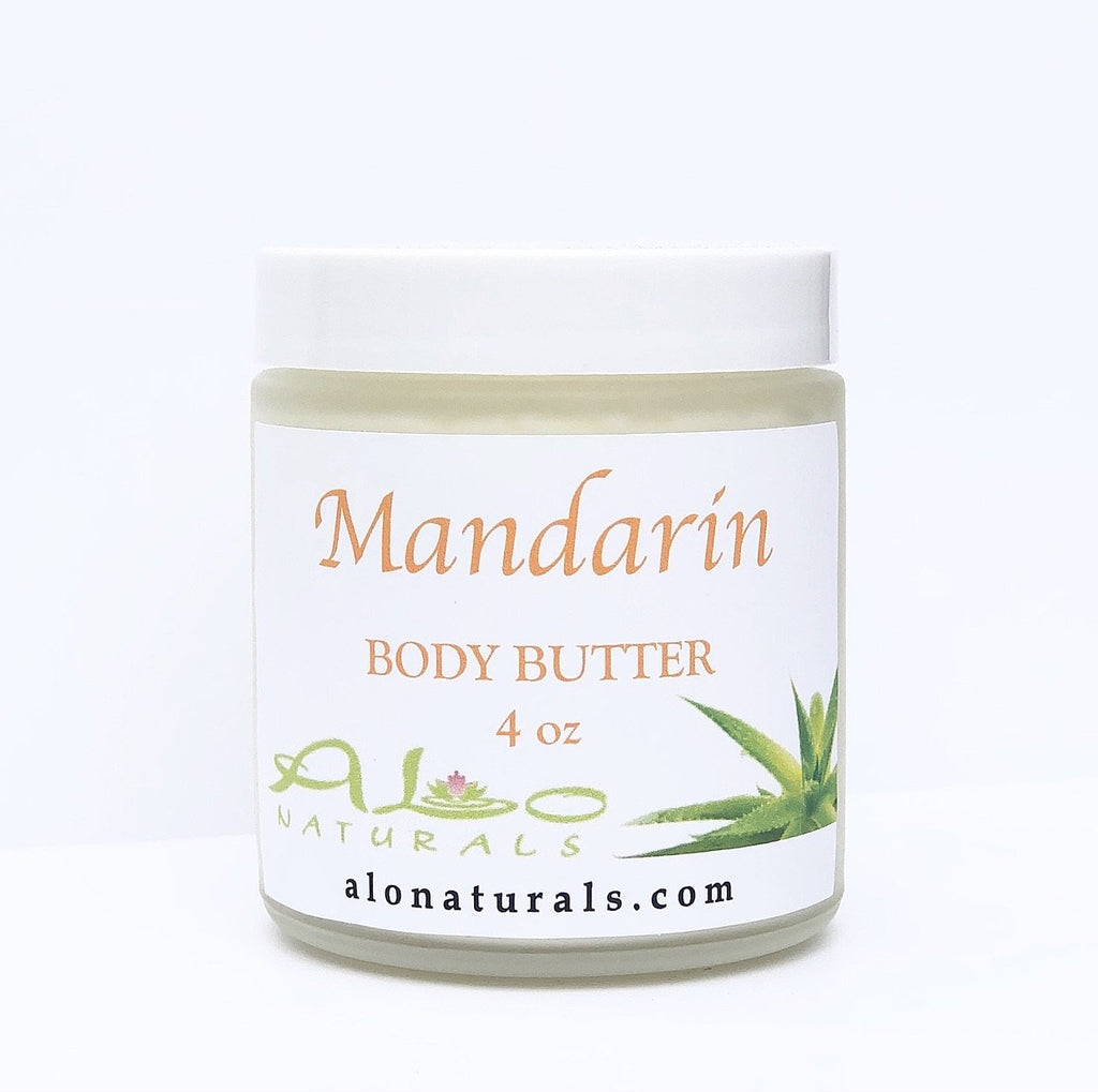 All natural body butter in Mandarin scent.  Formulated to heal and hydrate the skin.  4oz jar.