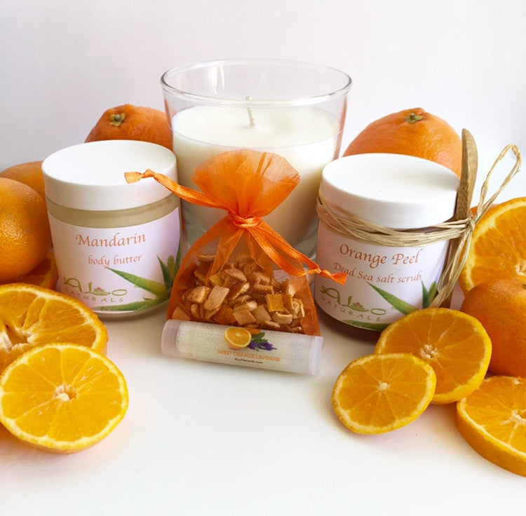 These fresh citrus scents help to alleviate symptoms of depression, anxiety, anger, and promote relaxation. Orange scents naturally serve as an aphrodisiac, natural bug repellent, and studies even suggest that this scent may aid in improving cognitive function especially in Alzheimer's patients.  Scented with therapeutic grade essential oils.