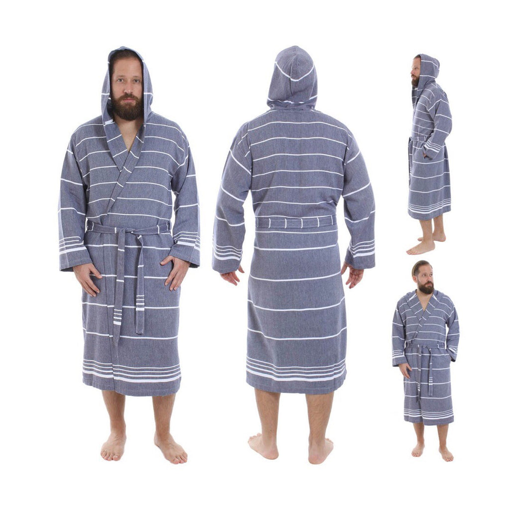 Hand loomed 100% Turkish cotton bathrobe in dark blue