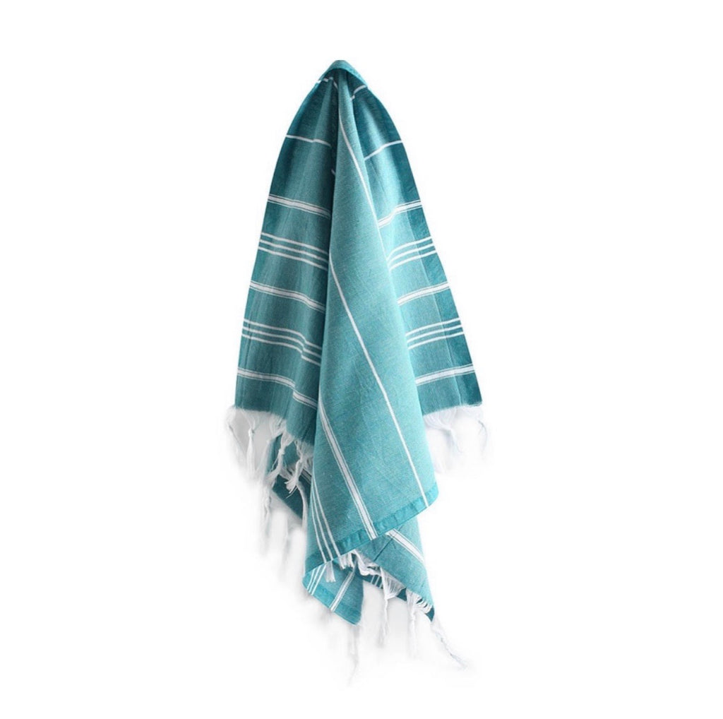 Turkish cotton hand towel in Aquamarine.  Known for its softness, absorbency, quick dry, and antimicrobial properties.