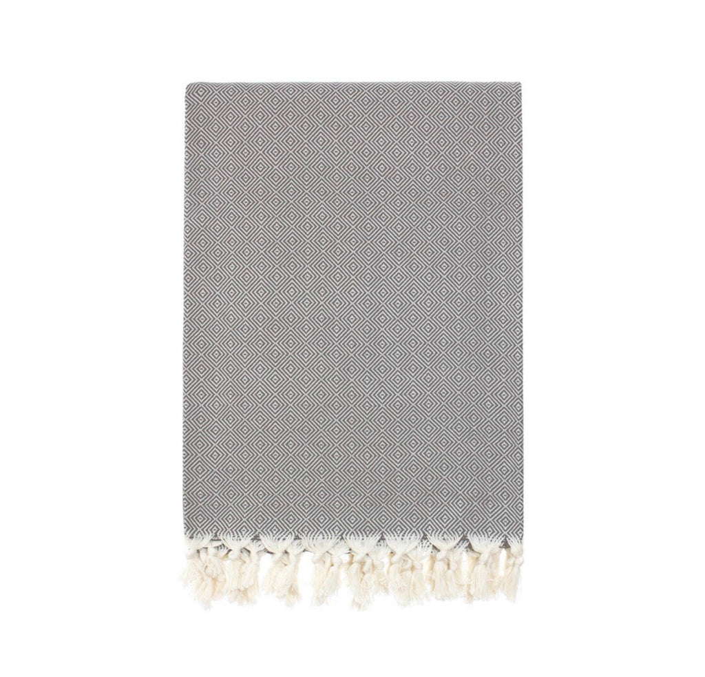 Queen size Turkish Cotton throw blanket in Dark Gray.  Hand loomed, super soft and comfy!