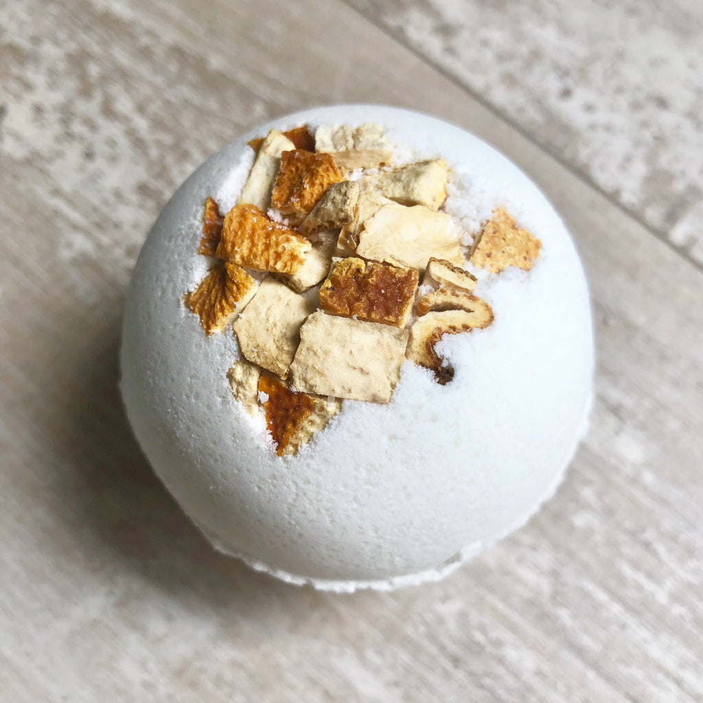 Bergamot Ylang Ylang Dead Sea bath bomb!  This citrusy sweet scent is known for its calming, relaxation, and purifying benefits.  It's also known to be an antidepressant, aid in immune health and help blood flow!