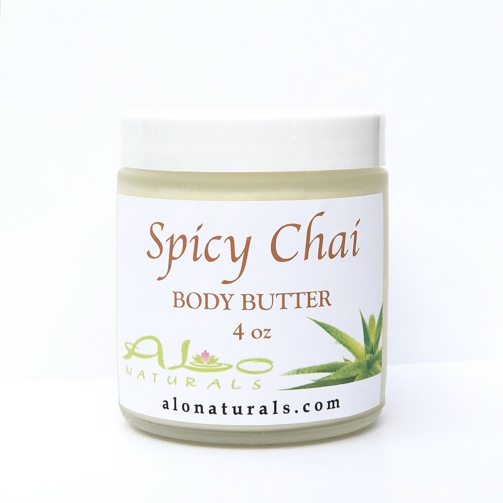 All natural body butter in Spicy Chai scent.  Intense moisturizer for the body and skin. 4oz jar.