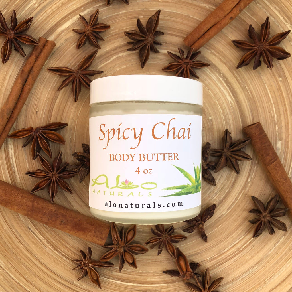 Our natural handmade Spicy Chai body butter makes skin silky soft! It is made of top quality raw ingredients from around the world making it completely unique and high grade. It moisturizes, nourishes and regenerates your skin to promote a healthy and radiant glow!