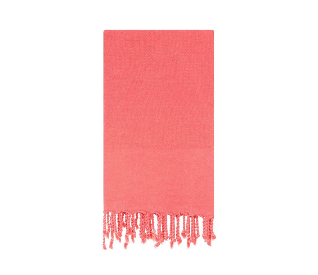 Turkish towel for beach or bath in coral