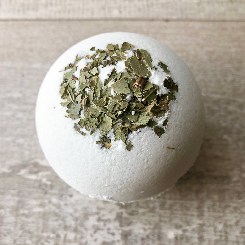 Dead Sea salt bath bomb!  This fresh herbal blend of eucalyptus and spearmint is a stress reliever!  It is also effective for treating many respiratory problems including cold, cough, runny nose, sore throat, asthma, nasal congestion, bronchitis, and sinusitis.  These herbs help to alleviate symptoms of anxiety, depression, mental exhaustion, improve concentration, provide relief from headaches and sooth muscle pains.