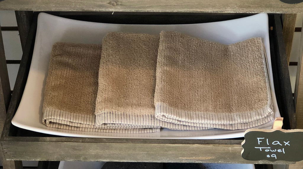 Our soft flax towels are a nice addition to natural skin care products for mild exfoliation in the bath or shower.