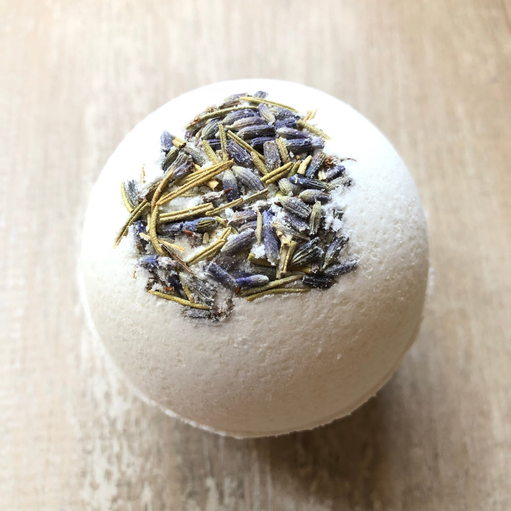 Dead Sea Bath Bomb!  Lavender has a lovely herbal scent which helps promote relaxation.  It is useful for treating anxiety, insomnia, depression, and restlessness.  Rosemary helps stimulate blood circulation and relieves pain associated with headaches, muscle pains, rheumatism and arthritis.  It's also known to tone skin and remove dryness.