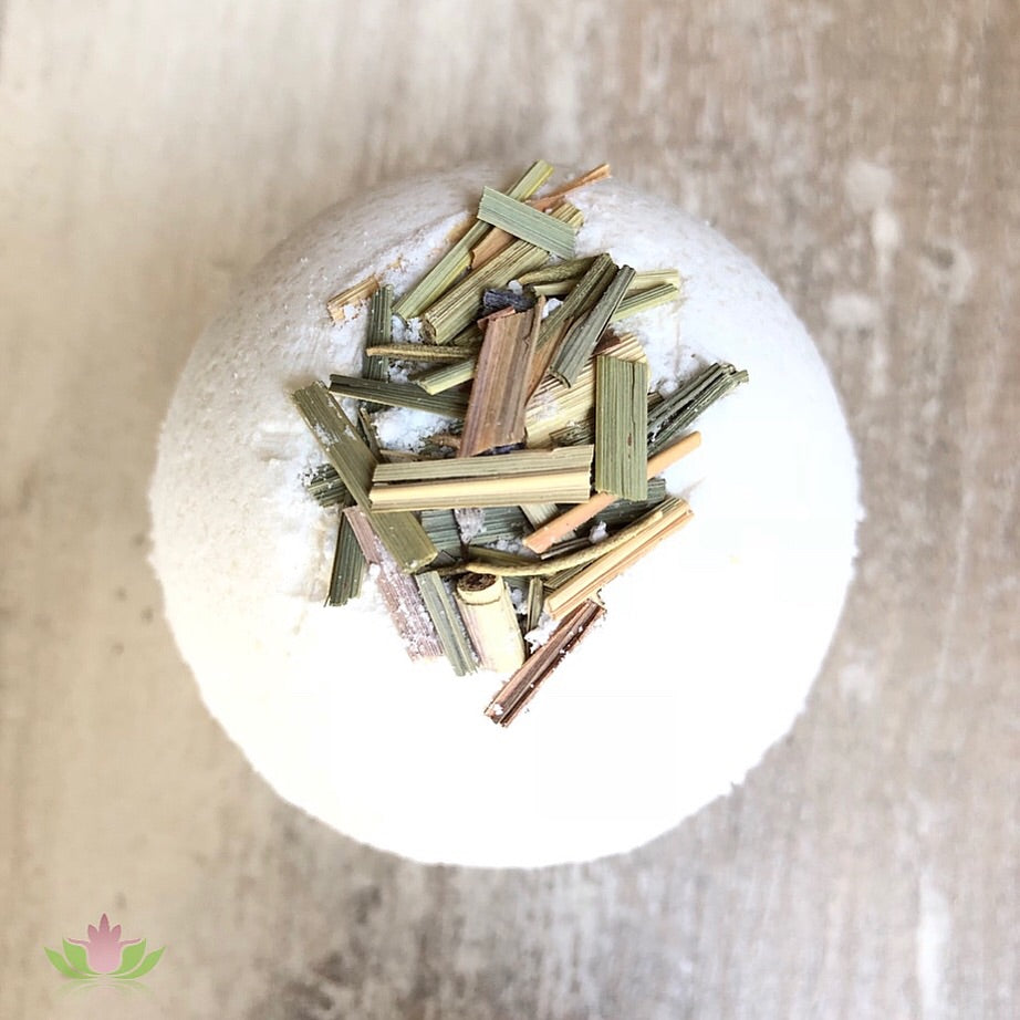 Lemongrass Coconut Dead Sea salt bath bomb!  This scent has a sweet yet tart scent making it tantalizing!  The fresh scent of Lemongrass can aid in curing depression and anxiety.  It has soothing, sedating, and calming effects on the mind.