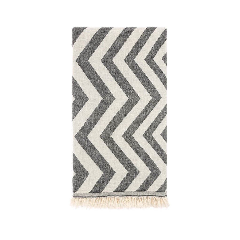 This beautiful chevron patterned towel is hand loomed from 100% Turkish Cotton.  It is the traditional flat-woven towels that was used in the legendary Turkish bath.  Known for its softness, absorbency, quick dry, light weight, hypoallergenic, and antibacterial properties.  Perfect for everyday use after a bath, at the beach, pool, or picnic.  Can also be tied around and worn like a sarong, shawl, or scarf!  It folds up small making them perfect for travel.