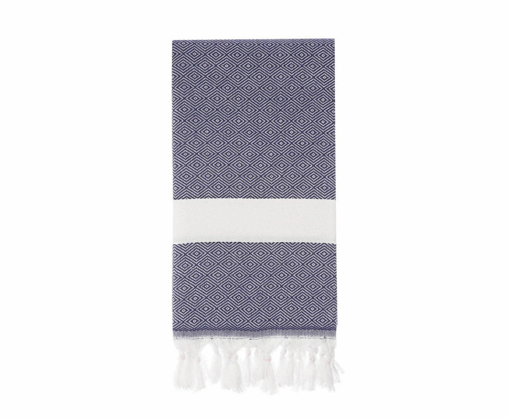 Diamond pattern Turkish towel for beach or bath in navy