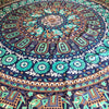 This beautiful rectangle mandala tapestry is about the size of a queen size bed.  It can be used as a bed cover, beach blanket, picnic blanket, wall hanging, table cloth, cover-up, shall, throw blanket, yoga towel, meditation cloth, window curtain, or whatever your heart desires.