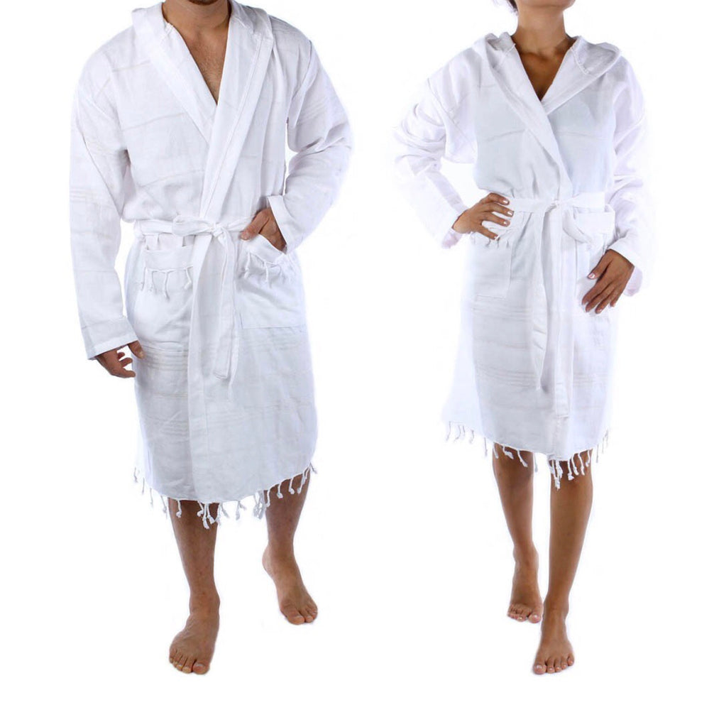 Wrap yourself in spa like comfort!  Our Dual layer White Tassel Pestemal Robe is flat woven with 100% natural Turkish cotton so it's more absorbent, dries faster, and weighs less than other materials.  These unisex robes make a perfect gift for him or her.  They are hygienic and antibacterial.  These Pestemal Robes are extremely versatile and can be used for the bath, beach, spa or gym.  They are super soft and retain their shape and color, and won't shed in the wash so they'll last for years!