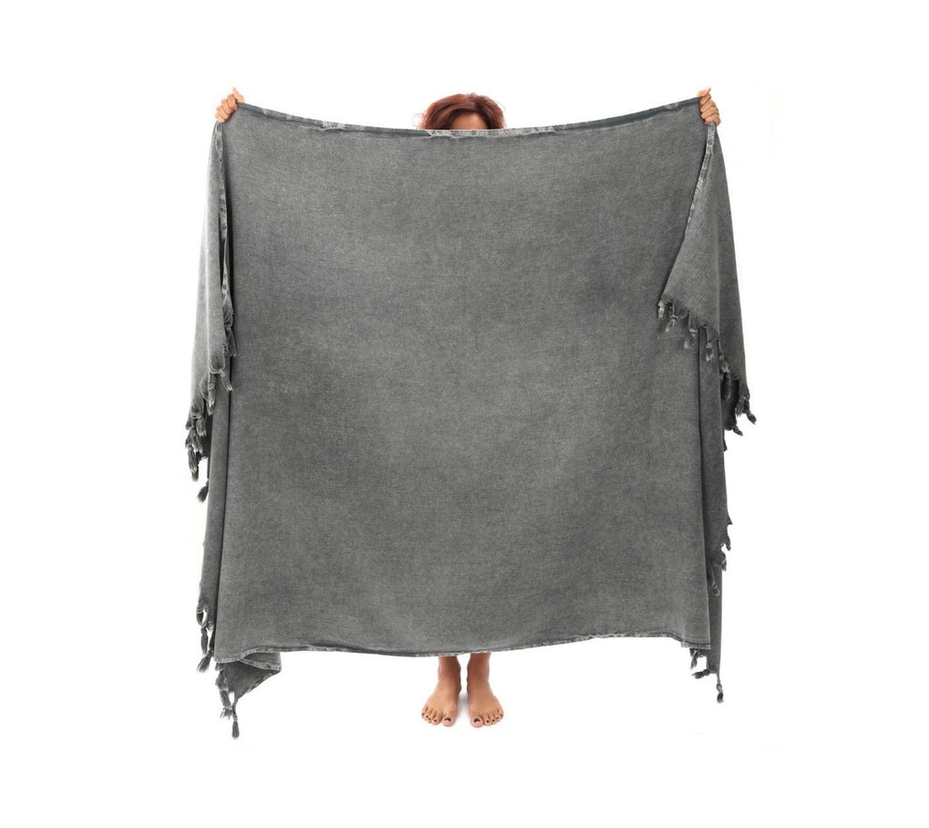 This gorgeous throw blanket is solid in gray color.  It is hand loomed from 100% Turkish cotton.  So comfy.