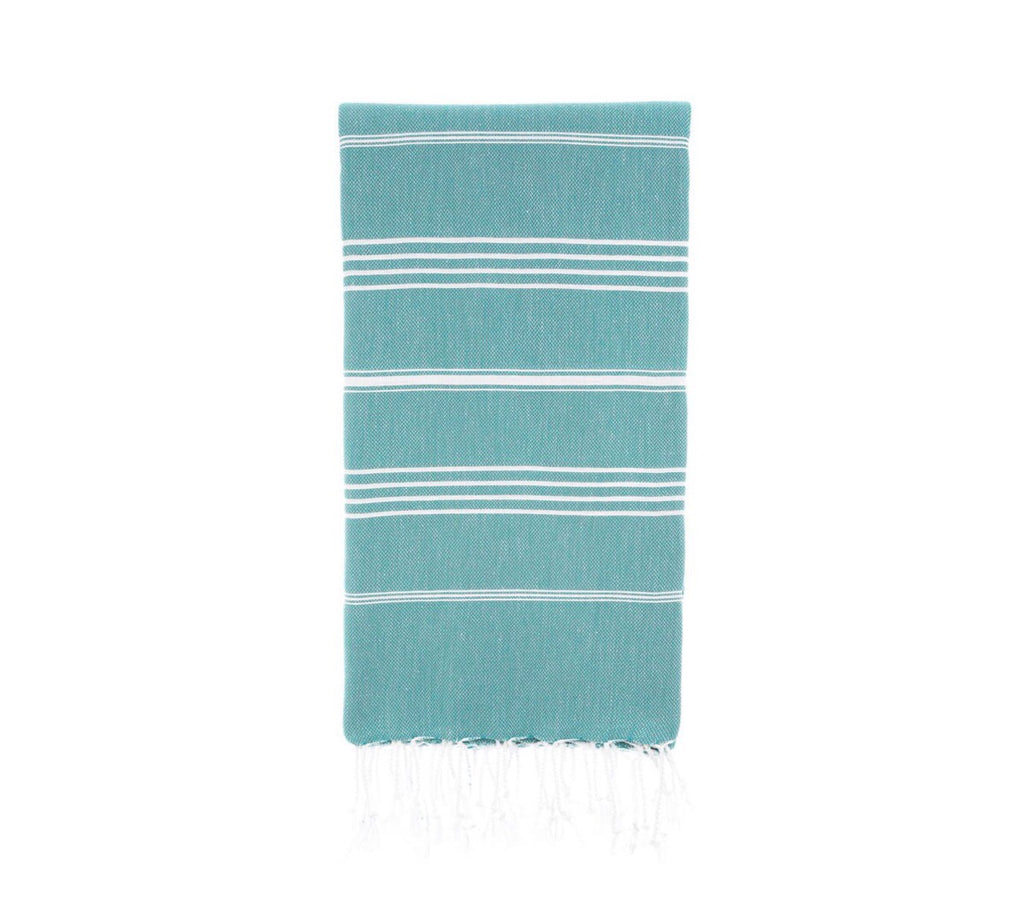 Turkish towel for beach or bath. Stripes, Aquamarine.