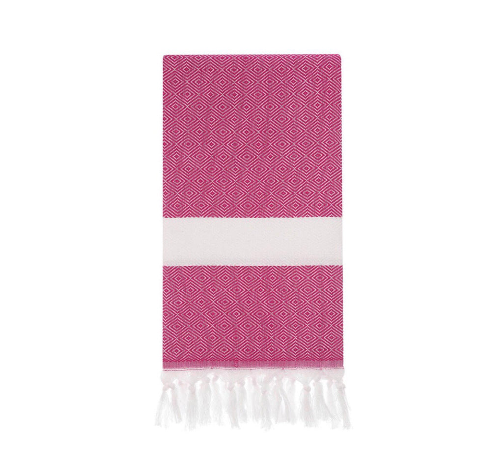 Diamond pattern Turkish towel for beach or bath in fuchsia