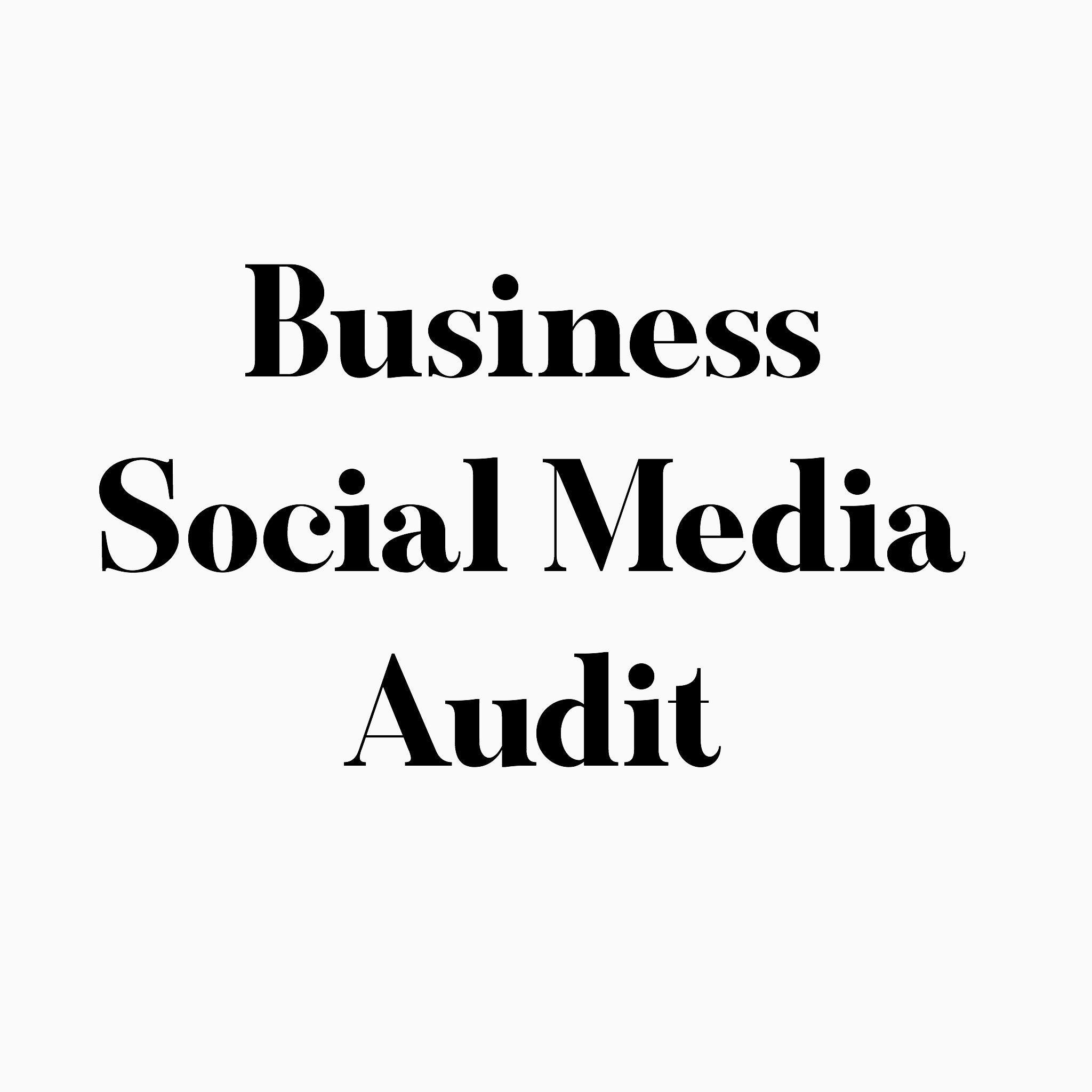 Business Social Media Audit