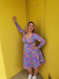 Skater Dress - Purple Retro Trolls