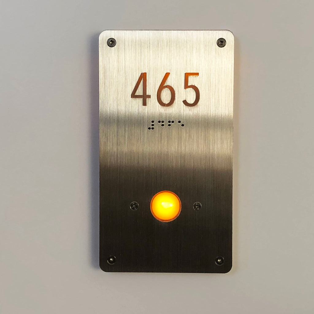 NMRDB-4X7.25 Unit Number Signage with Doorbell Button