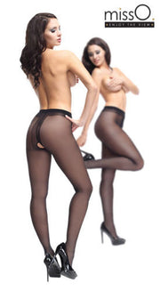 MissO Open Gusset Crotchless Gloss Tights 40 Denier Sheer Pantyhose p102