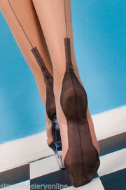 Gio Full Contrast Cuban Heel Seamed Stockings 100% Non Stretch Nylon 1940 retro