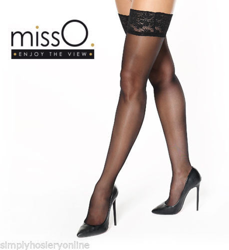 Miss O Silky 15 Denier Lace Top Hold Ups S305 4 Colour Choices 10cm Deep Tops