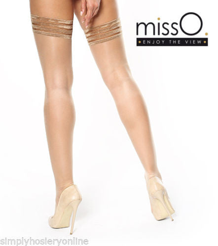 Miss O Silky 15 Denier 4 Banded Top Hold Ups S306 2 Colours 10cm Deep Tops