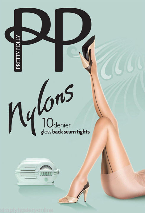 Pretty Polly Nylons Backseam Gloss Tights 10 Denier Pantyhose