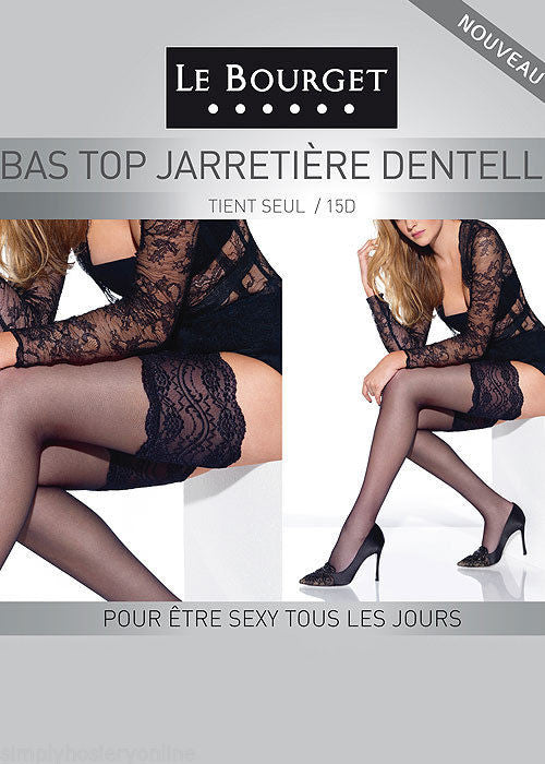 Le Bourget Bas Top Jarretiere Dentelle Lace Top Hold Ups 15 Denier