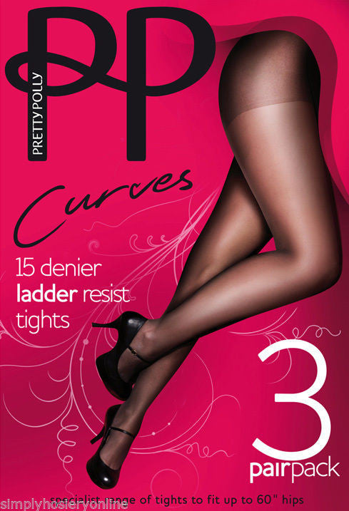 "Pretty Polly Curves 15 denier Ladder resist Tights XL - XXL to 60"" hips"