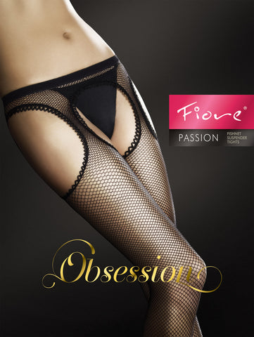 Fiore Passion Golden Line Fishnet Suspender Tights