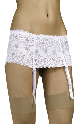 Wide Lace 4 Strap Suspender Belt for Stockings by Silky