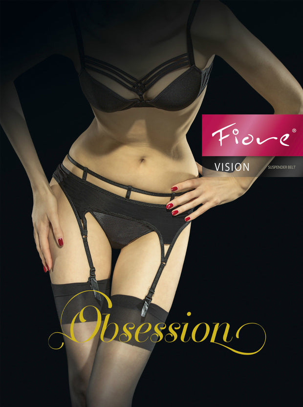 Fiore Vision 4 Strap Suspender belt for Stockings - Metal Clasps