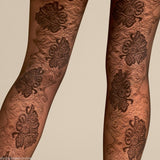 Le Bourget Margaux 20 Denier Patterned Tights Fancy Floral Back Seam Pattern
