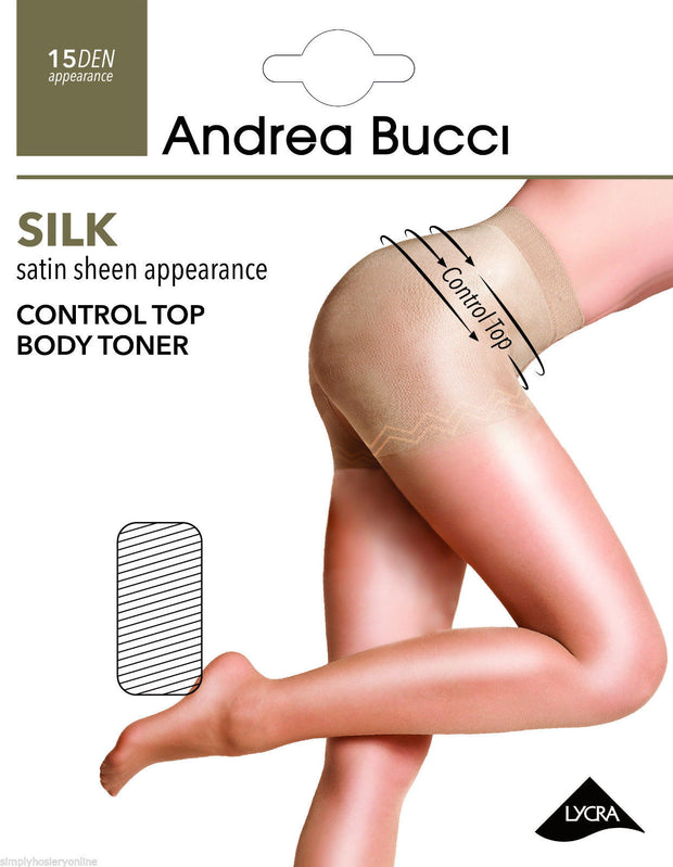 Andrea Bucci Bodytoner Control Top Tights 15 Denier Satin Silk Sheen