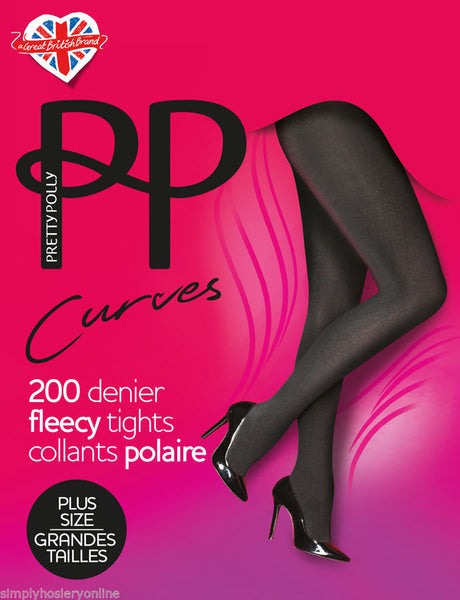Pretty Polly Curves 200 Denier Fleecy Thermal Warm Tights XL Black to 6' tall