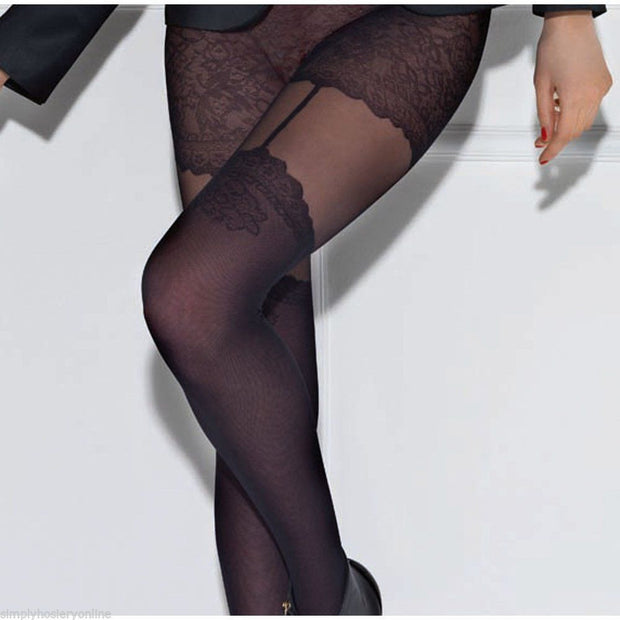 Le Bourget Arabesque 20 Denier Mock Suspender & Stocking Patterned Tights