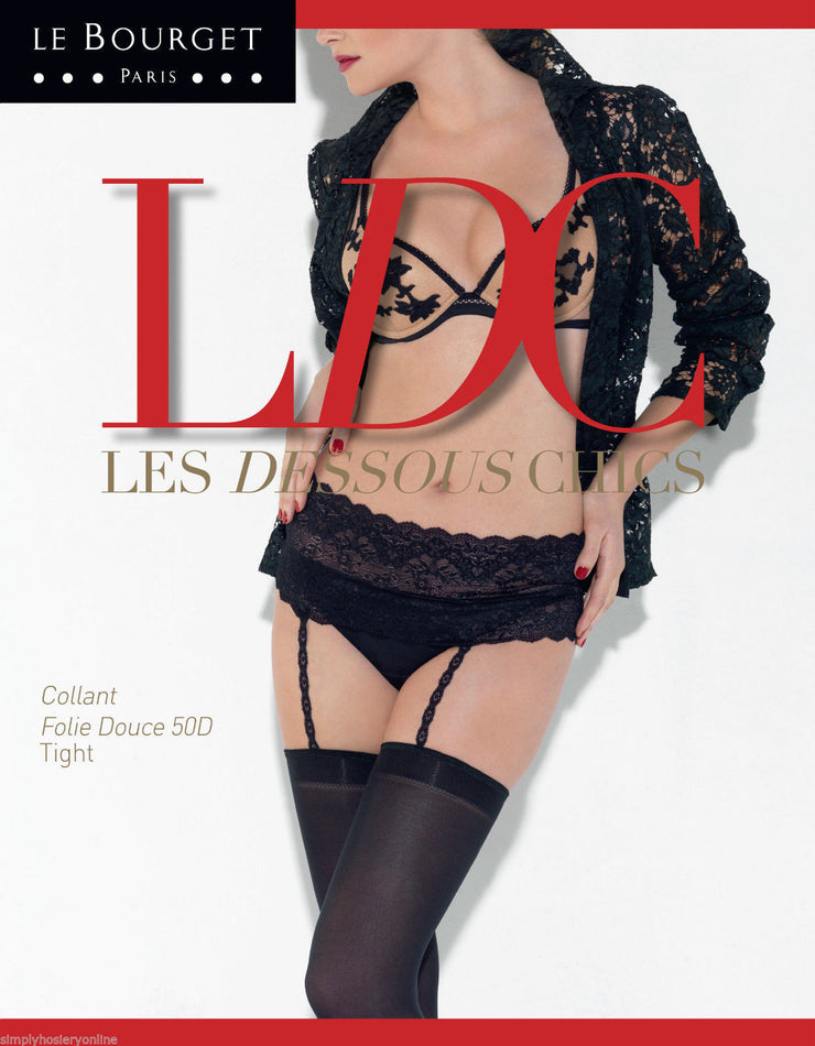 Le Bourget Folie Douce One piece integrated 50 Denier Stockings & Suspender Set