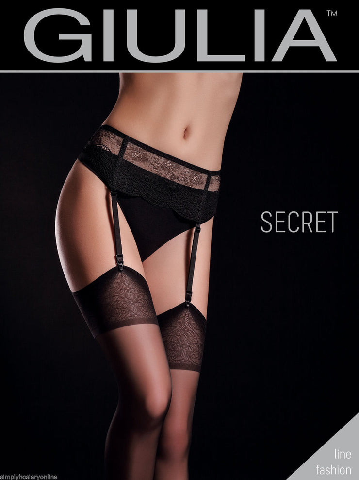 Giulia Secret Model 1 Sheer Stockings 20 Denier Patterned tops Belt Required