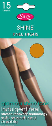 Silky Shine Knee Highs 15 Denier Gloss Appearance with Reinforced Toes