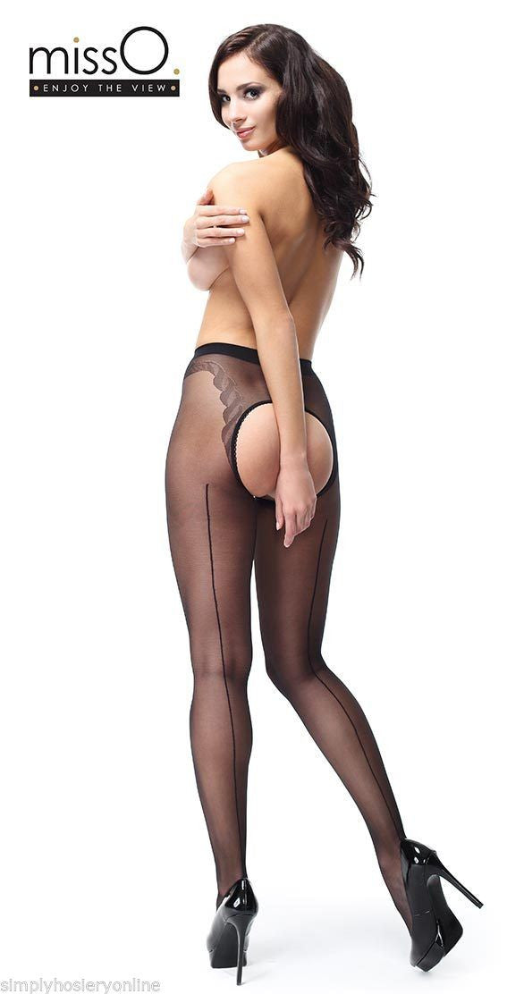 Miss O Open Gusset Crotchless Gloss Tights 20 Denier with Back Seam P211