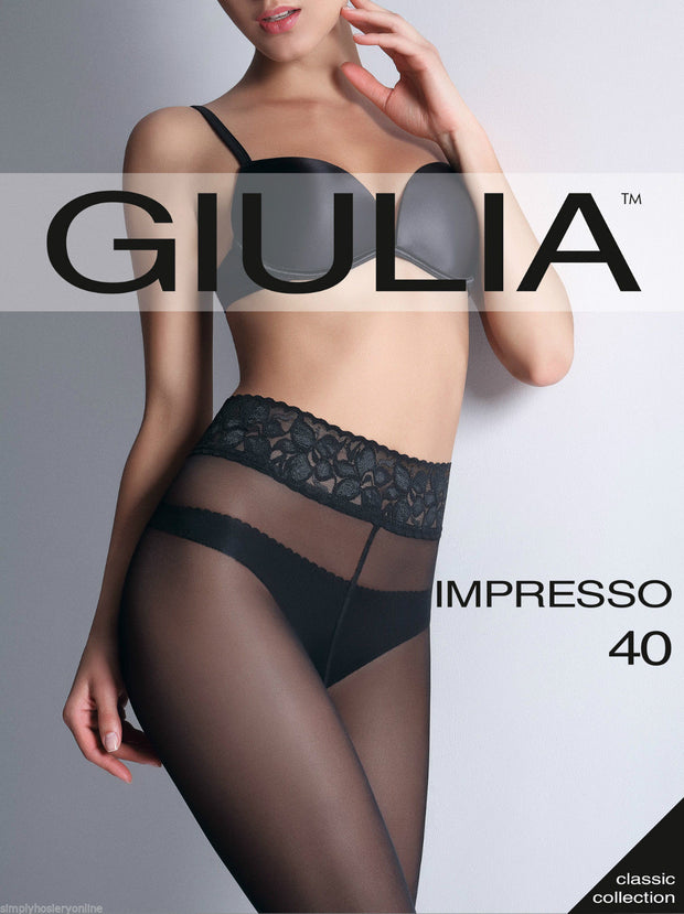 Giulia Impresso 40 Denier Lace Top Tights Sheer To Waist NEW Silicone Band Top
