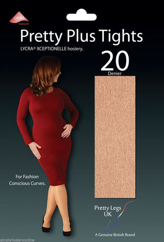 "Pretty Legs Pretty Plus 20 Denier Tights 50-60"" hips Fashion Conscious Curves"