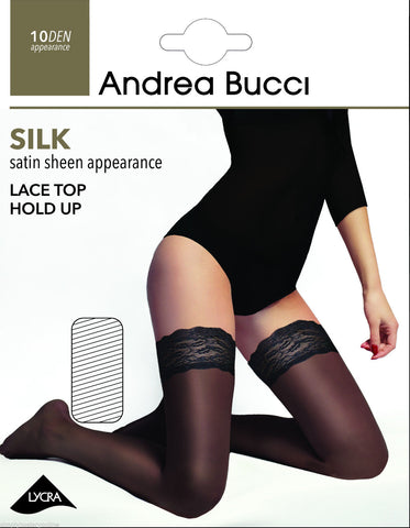 Andrea Bucci Silk Satin Sheen Lace Top Hold Ups 10 Denier