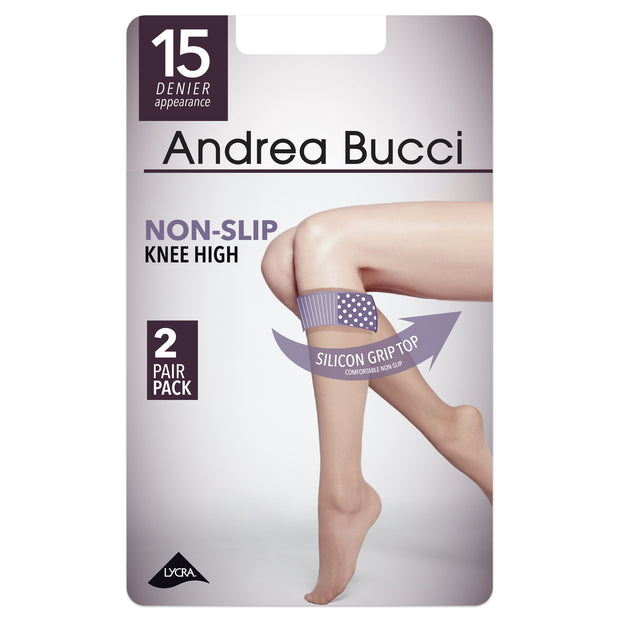 Non Slip Silicone Grip Top Knee Highs 2 Pair Pack
