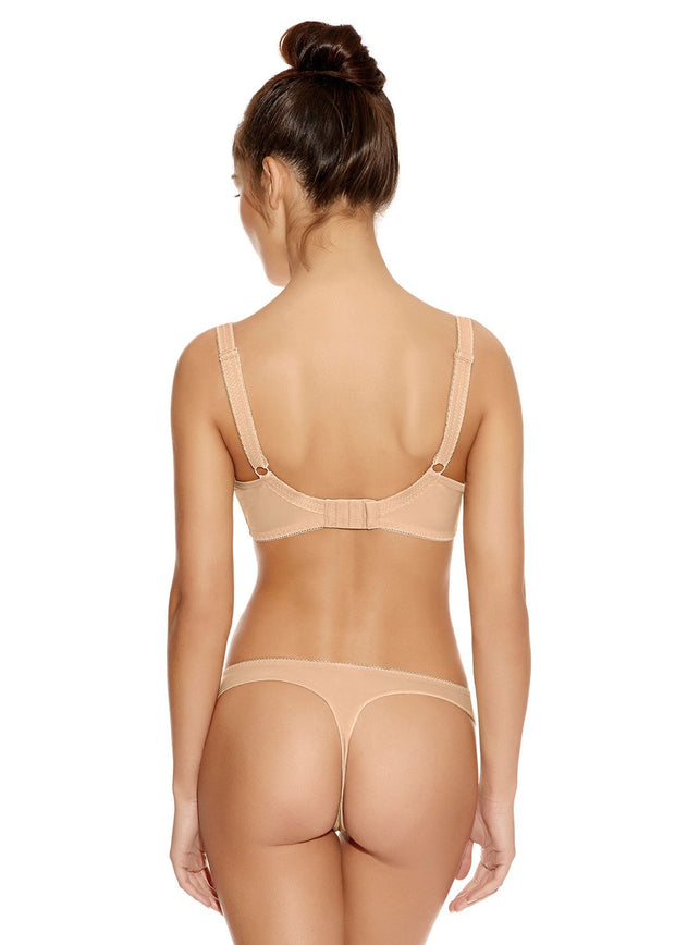 Deco Underwired Moulded Plunge Bra in Nude