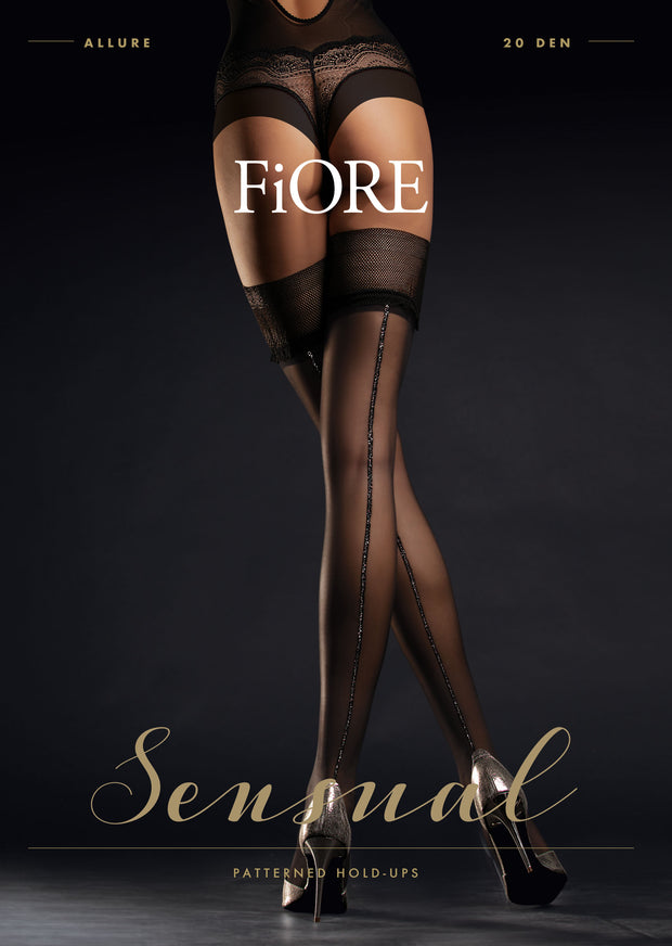FiORE Allure Hold Ups 20 Denier Metallic Silver Back Seam