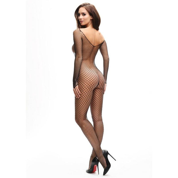 MissO Fishnet Open Gusset Body Stocking B700 in Black